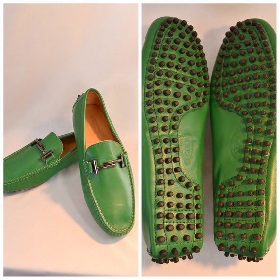 "Tod's Iconic Custom Handmade ""Double T"" Loafers in Grass Green Fine Calfskin Leather - UK Aus Mens 9 - 9.5"