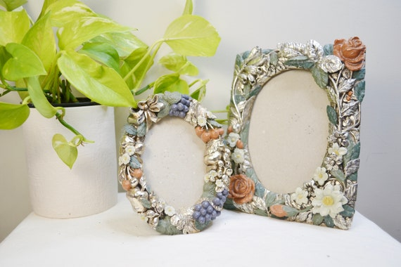 Silverleaf Patina Pair of Vintage Picture Frames w/ Roses, Grapes & Leaves. Matching Set, Antique Shabby Style, Beautifully Made.
