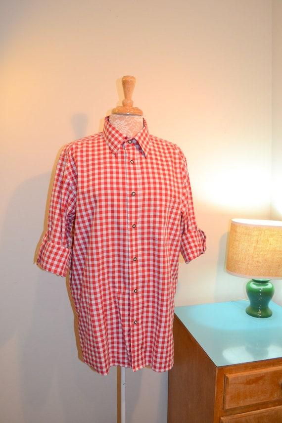 Unisex Boyfriend Red Check Shirt - Mens Medium - 1980's - German-Made - Like New