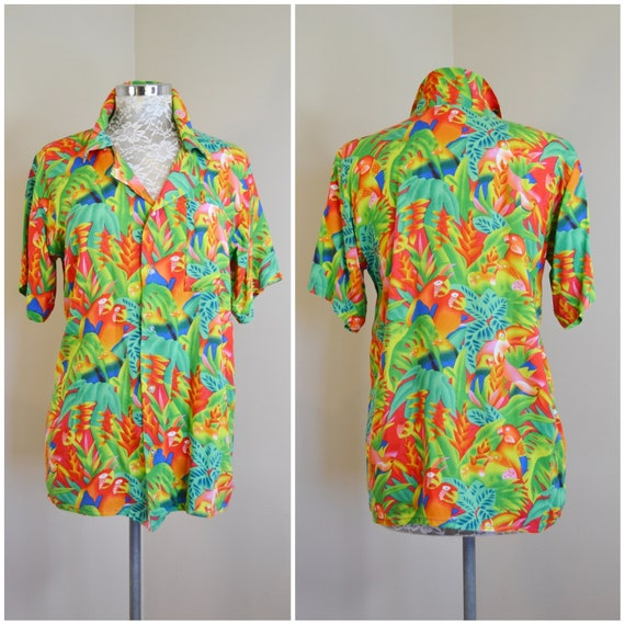 Tropical Parrots Galore on this Day Glo Colourful Rayon Hawaiian Shirt - 1980's Loose Fit, Unisex - Small - Medium