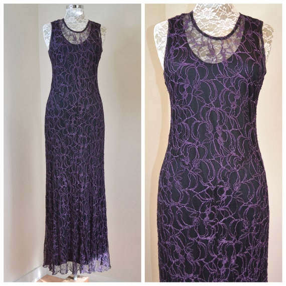 90's Floor Length Bias-Cut Goddess Dress in Purple Black Lace - Hippie Witch Gothic - Made in New Zealand by Anventagous - One Size