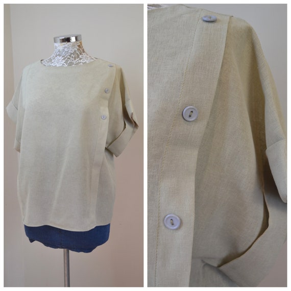 Vintage Light Sage, Celedon Boat Neck, Loose Fit Minimal Button Details - One Size Fits