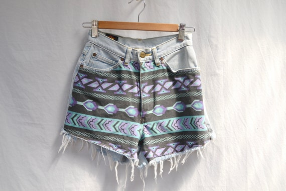 "Vintage Lee Denim Shorts w/ Tribal Fabric Sewn Front - Crafty, Up cycled, Repurposed - High Waisted - Faded & Soft - XS 24"" Waist"