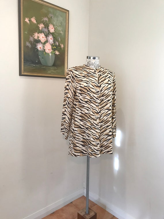 Lovely Vintage Handmade Button Up Tunic in Rayon Animal Print.  Silky Satin Loose Fit - 90s Minimal Boxy Long Blouse - Medium