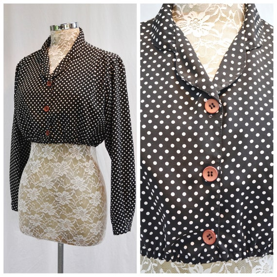 70's Crop Black & White Polka Dot Silky Secretary Blouse - Contrast Vintage Buttons - Sexy MOD Upcycled - Womens Med