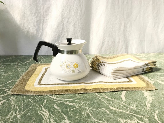 Qty 8 Vintage 100% Linen Placemats in Olive, Mustard, Crisp White Natural Woven Flax - Set of 8