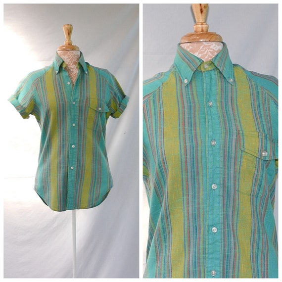 SALE* Vintage 60's Fruit of the Loom Raglan Short Sleeve Oxford - Turquoise & Lime Green Mexican Cotton -American Vintage - Unisex Small