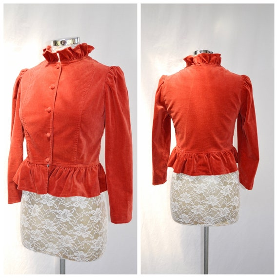 60's MOD Victorian Fitted  Red Cotton Velvet Jacket by Katies - High Ruffle Collar, Puff Sleeves, Covered Buttons - AUS 12 - US 8