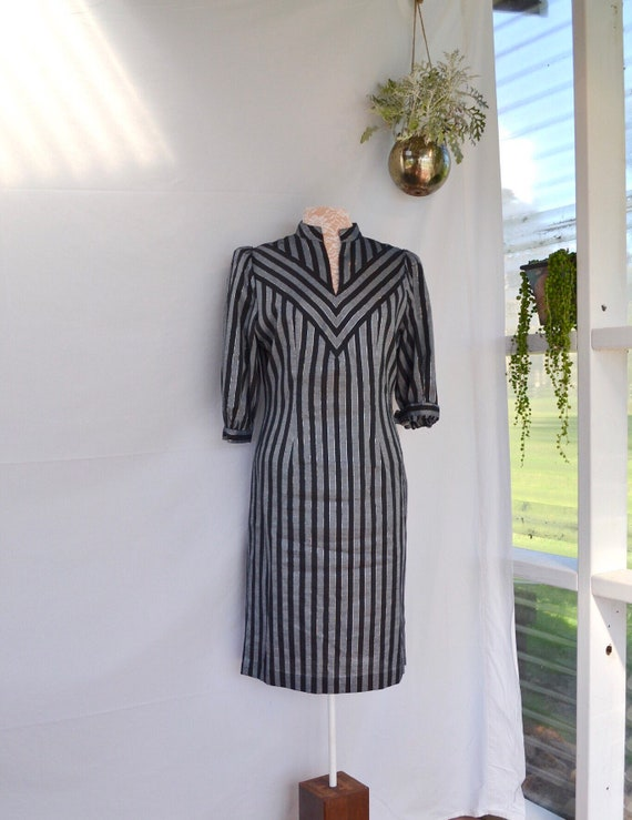 Silver Stripe Space Age 80's  Vintage Tunic Dress - Med