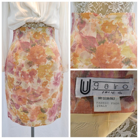 "90's does 50's Skinny Pencil Skirt in Warm Tones Floral - Italian Designer Ugaro - Linen Blend, Fully Lined - Curvy Small, 26"" Waist"