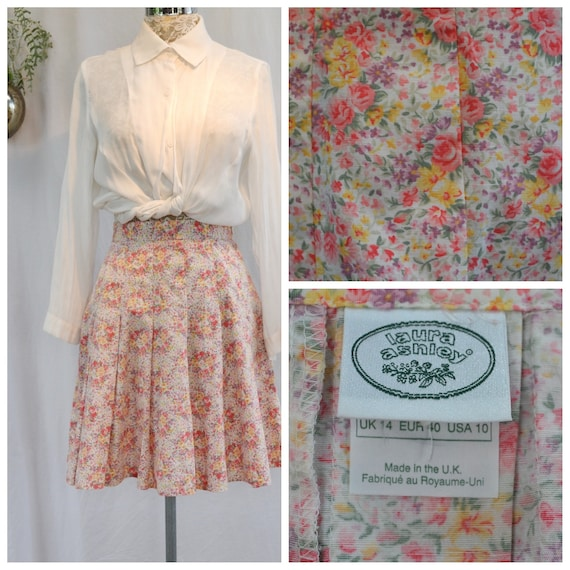 "Lovely Laura Ashley Vintage Pleated Skirt in Soft Rose Mini Floral - Like New- MED, US 10, AUS 14 - 29"" Waist"