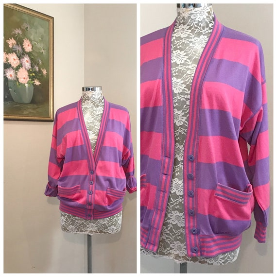 Pink & Purple Sporty Sweatshirt by Crestknit - Baggy Loose Fit 80's Cardigan Hoodie Super Soft - Made in Australia - AUS 12