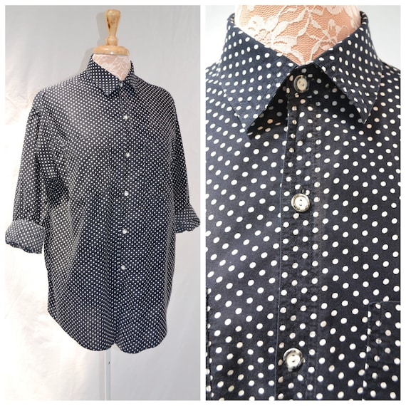 Classic 90's Black & White Polka Dot Unisex Boyfriend Shirt. - Vintage Preppy Oxford - Mens Small - Womens Med