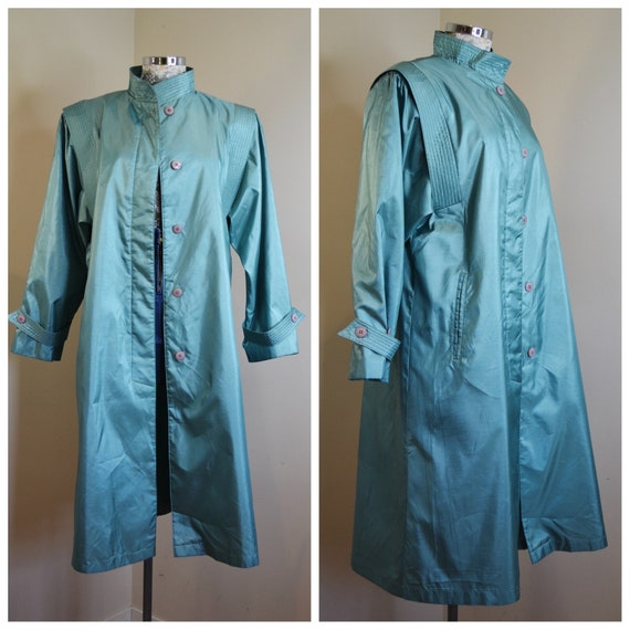 80s Teal Green Water Resistant Rain Coat - Hong Kong Vintage Nylon Trench Coat - Excellent Condition - One Size Fits Most