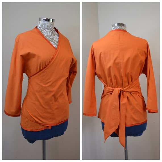 Wraparound Japanese Kimono Wrap Top - Bright Orange Cotton, Silk Trim, Ties at Waist  - Medium, Large - One Size Fits Most
