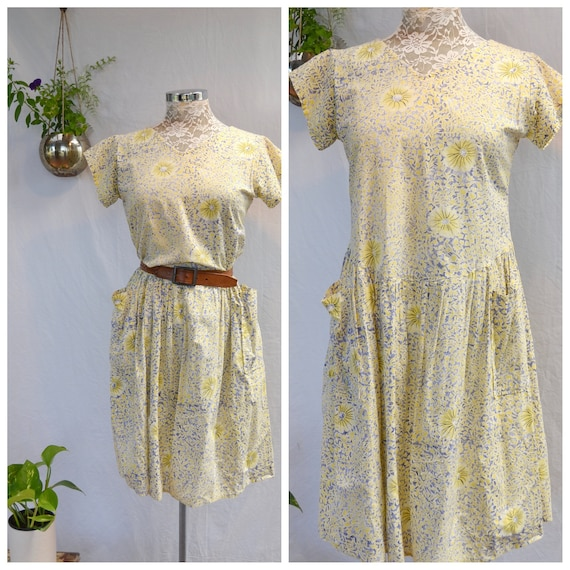 Barefoot & Pregnant* 1950's Handmade Farm Dress. Vintage Faded 100% Softest Cotton - Muted Yellow/Blue Floral - Country House Dress - XS