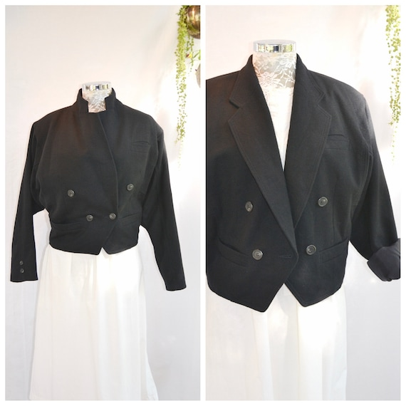 Blackest Wool Double Breasted Boxy Vintage Crop Jacket - Minimal 90's Sophisticated Cut - Pure Class! - Medium