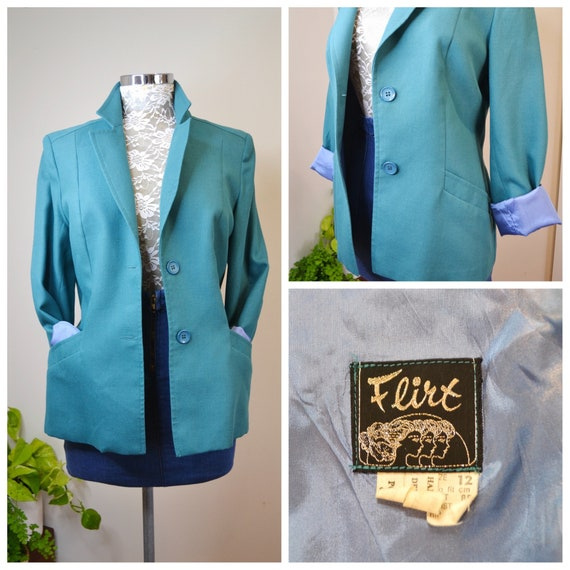 1960's MOD Blazer in Teal Green w/ Periwinkle Blue Lining by Flirt.  Fine Wool Gabardine in Bold Peacock Blue - Small Medium - AUS 12