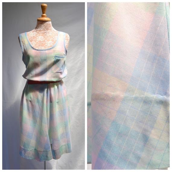 Vintage Pastel Plaid Thin Soft Cotton Summer Dress - 80's Sleeveless Sheer - Made in Australia - Aus 12