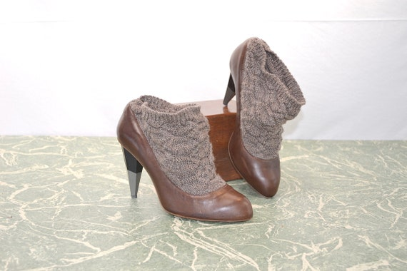 Designer Omelle Luxury Knit Choked Heels.  Funky Winter 2 Tone Chocolate Brown - 38