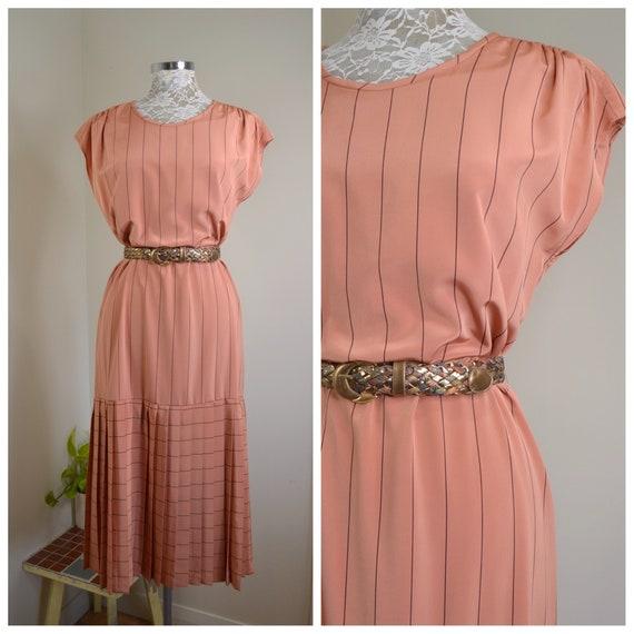 Blush Pinstripe Maxi 70's Sheik Secretary Dress in Pinstripe Satin. Vintage Fleshy Peach Colour, Stunning Long Minimal Look - AUS 12 SM MED