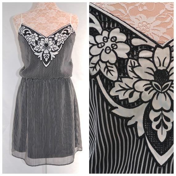80's Black & White Stripe Satin Chiffon Summer Spaghetti Strap Dress. - Cinched Elastic Waist - Medium