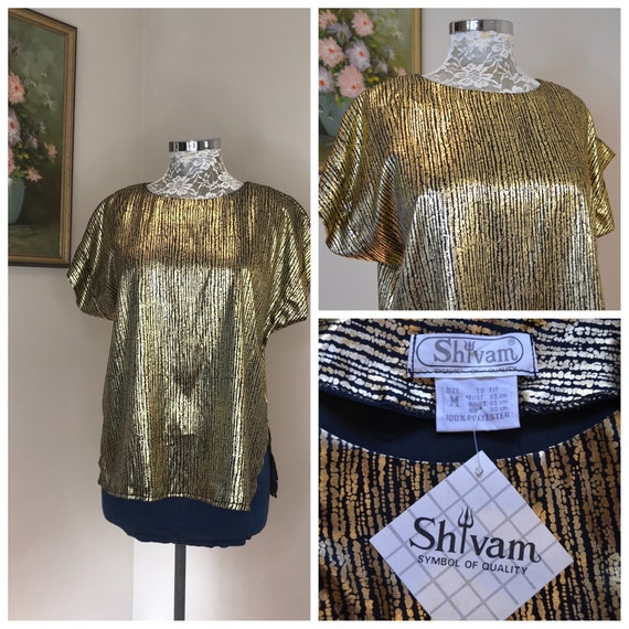 Deadstock Fancy 80's Metallic Gold Shimmer Top - Boat Neck, Capped Sleeves - Shiny Metallic Gold & Black - New w Tags - Medium - One Size