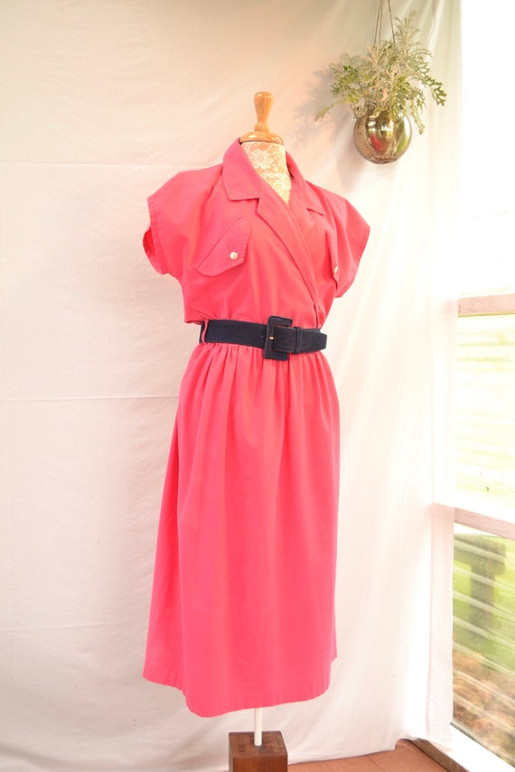 80's Rad Red Cotton Shirt Dress by Katies Australia - sz 12 Medium
