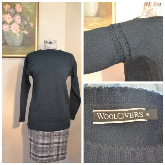 90's Heavy Warm Pure Wool Jumper by Woolovers - Deep Dark Hunter Green - Preppy Minimal - Excellent Condition Like New - Unisex Small