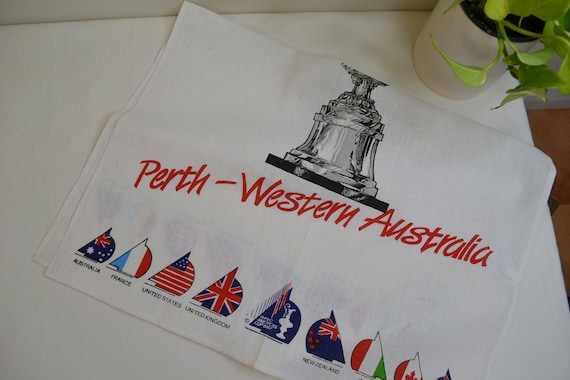 1987 Americas Cup Perth Western Australia Tea Towel - Like New - Flags on White Cotton