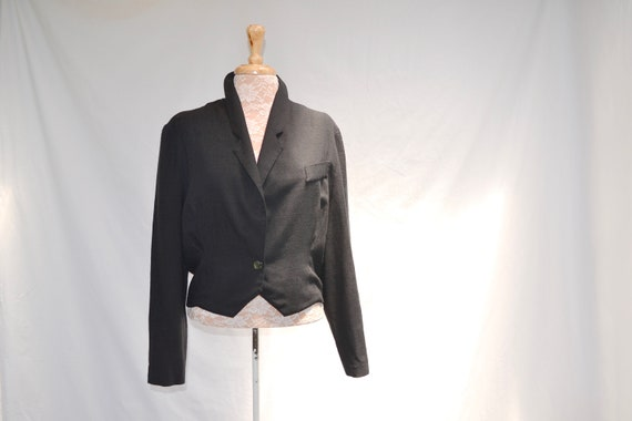Vintage Katies Black Cropped Jacket - 90's Lightweight Linen Look Viscose - Single Button Blazer / Bolero - Medium