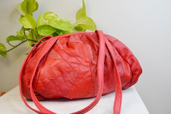 Fire Engine Red Patchwork Leather Jumbo Shoulder Bag - Huge! - 1980's Vintage, Real Leather, Brightest Red.
