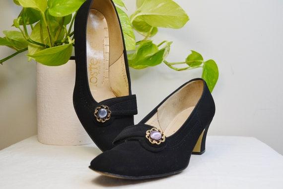 """1960's Mod Granny Kitten Heels - Black Fabric Loafer Pumps w/ Lovely Button Detail - By Hostess Fine Footwear - 2"""" Heel -  Women's 5.5"""