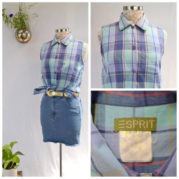 90's Esprit Plaid Sleeveless Summer Cotton Button-Up Shirt - Small
