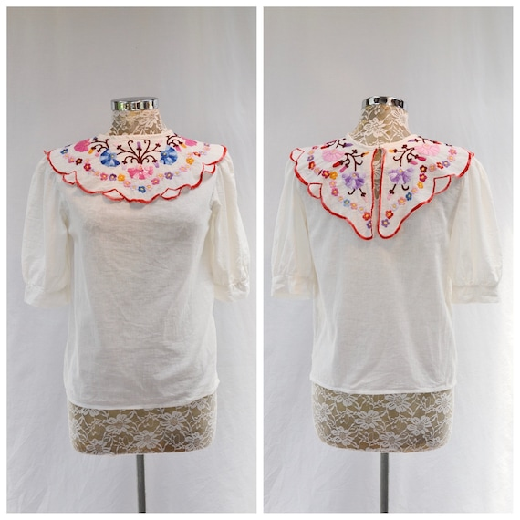 Gorgeous Embroidered Collar Linen Gauze Tunic - 1/2 Puff Sleeves, Wide Round Collar, Button in Back - Small