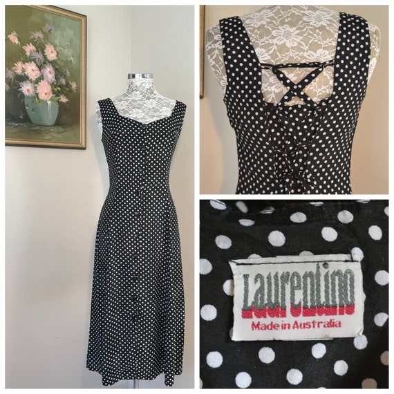 80's Maxi Dress in Black & White Polka Dot Rayon - Button Front, Lace Up Ties in Back - Vintage Made in Australia - AUS 12 - Small - Medium