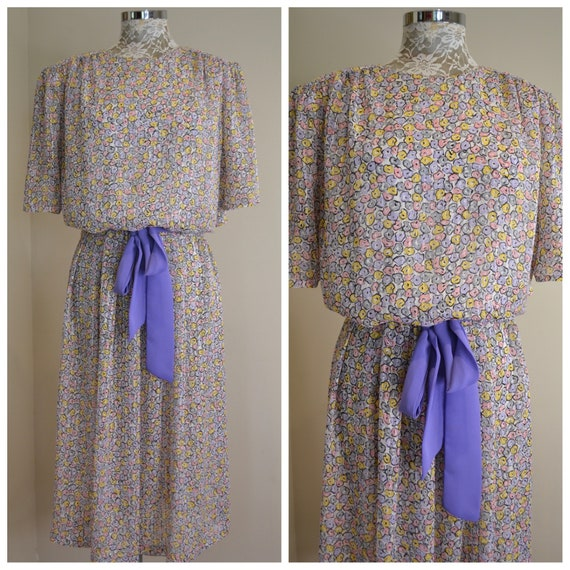 80's Pastel Mini Floral Silky Chiffon Secretary Dress by The Dress Company Melbourne - So Silky Soft - Plus Size Vintage - XL - AU 18
