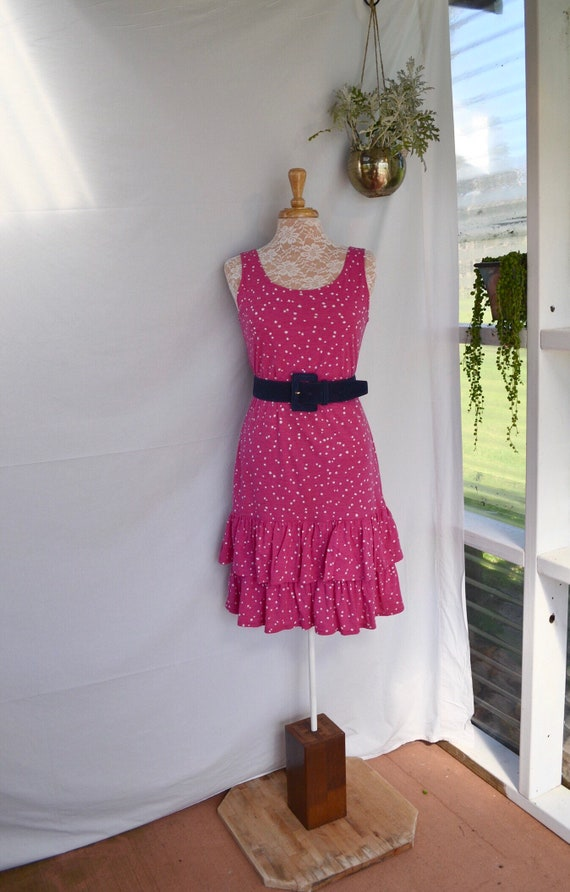 1980's Fuchsia Cotton Tank Ruffle Summer Dress - Aus 12