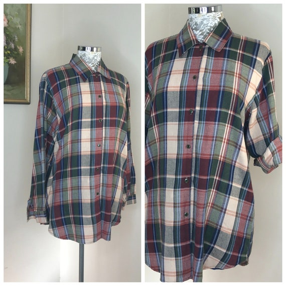 90's Katies Plaid Mom Shirt - Classic Preppy Autumn Colours, Burgundy, Navy & Olive Loose Fit Button Up - Warm Winter Country Chic, AUS 12