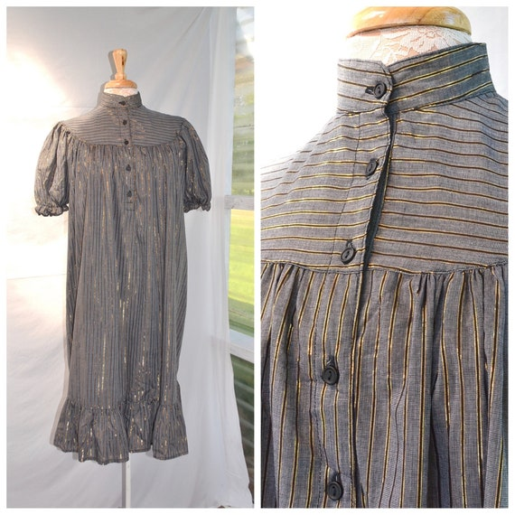 Vintage Grey & Gold Stripe Babydoll A-line Frilly Ruffle Dress w/ Pouf Sleeves. One Size