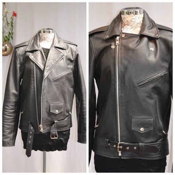 Heavy Black Leather Motorcycle Jacket - 90's Vintage by Reclaimed Vintage - Mens Medium