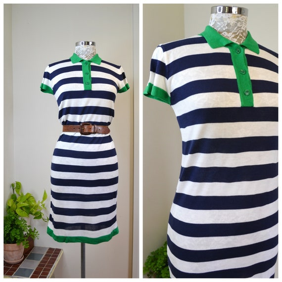 90's Sporty Preppy Navy Blue & White Horizontal Stripe Midi Dress - Soft Cotton Stretch Knit - Small AUS 10