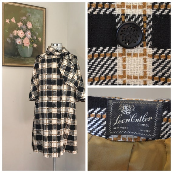 Pristine 1960's Wool Tweed Coat by Leon Cutler - Vintage Cape in Cream & Black Plaid, Olive Satin Lined, Amazing Buttons - AUS 14 - Medium