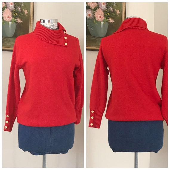 Heavy Wool Fire Engine Red Vintage Pullover by Slade - Cowl Neck, Gold Buttons - Made in Australia - 100% Pure New Wool - Winter Warm - MED