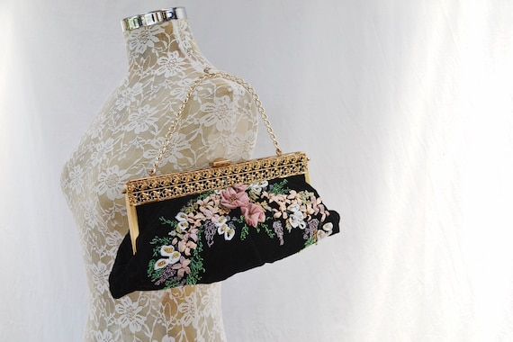 Victorian Beadwork, Ribbonwork & Embroidery on Black Velvet w/ Gold Clasp - Formal Costume Handbag - Art Deco Glam