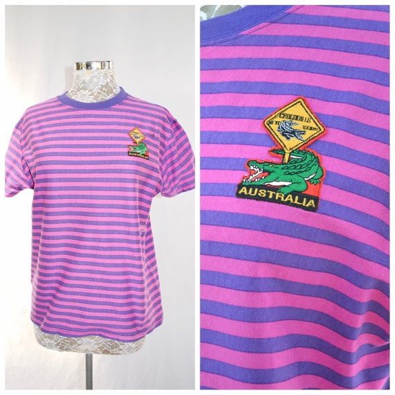 Upcycled Australia Patch T-Shirt - Crocodile Patch on 80's Pink Purple Stripe Cotton T-Shirt - Excellent Condition - Unisex Small