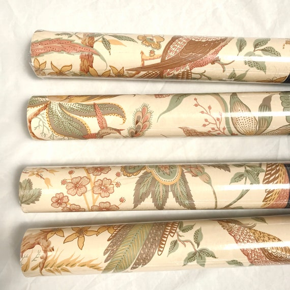Vintage Sanderson Wallpaper - SUVA WR419/4 - Pheasants & Flowers in Earth Tones - Whole Rolls!