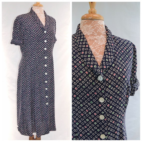 90's does 40's Radley of London Beautiful Maxi Button-up Dress in Navy & Cream Viscose - Made in England - Medium US 12 - AUS 14