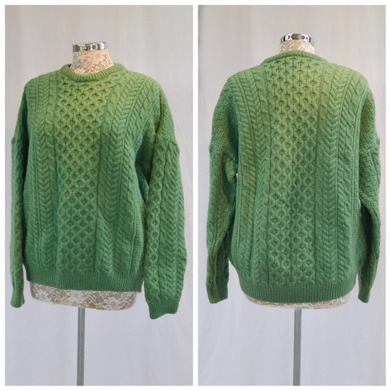 Vintage Irish Heavy Wool Cable Knit Sweater - Merino Wool Made In Ireland - Gorgeous Emerald Apple Green - Winter Warm Pullover Jumper - XL