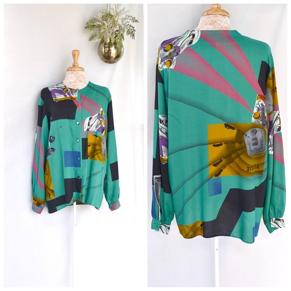 Art Deco Print 80's Jewel Tones Blouse - 100% Viscose - UK 14 Medium